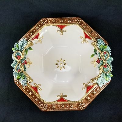 Fitz and Floyd Yuletide Holiday Serving Bowl Christmas Holiday Embossed