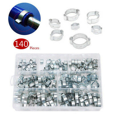 140X Zinc Plated Double Ear Clamp Air Fuel Hose Pipe O Clip Assortment Kits Delu
