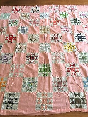 Vintage Quilt Top - Star Pattern ~ beautifully hand-pieced!