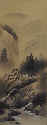 Japanese Hanging scroll / Landscape Design / KAKEJIKU / Silk / Antique / 21l