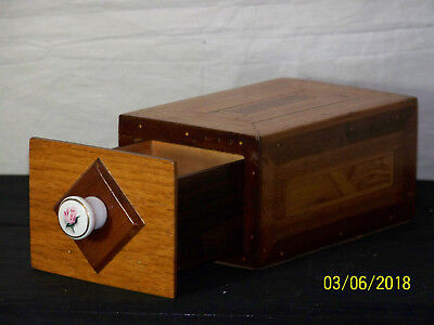 Vintage Marquetry Inlaid Box w/Removable Sectional Drawer Porcelain Pull Knob