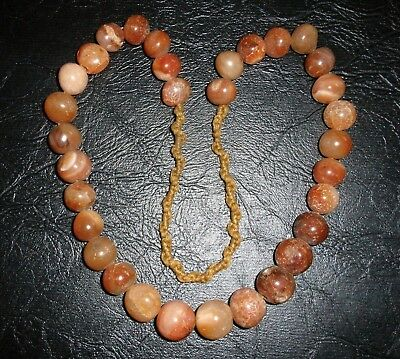 Rare 2000+ Years Tibetan Pema Raka Carnelian Necklace -  32 Beads - 168 Grams