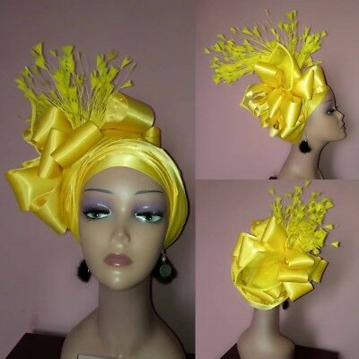 Auto Gele, ready made and hand made head tie, african head gear / hat. bow hat.