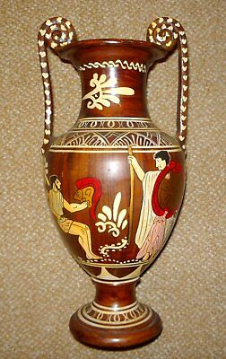 "Vtg Greek Replica Painted Terracotta Clay Amphora Vase with Handles -12.25"" Tall"
