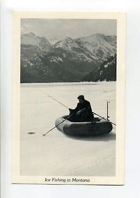 Vintage Postcard, Ice Fishing in Montana, man in inflatable, fishing poles