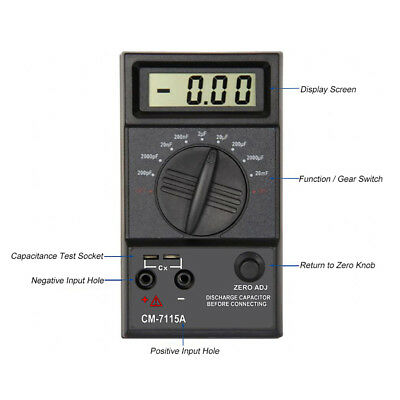 2018 New Capacitor Digital Meter High Accuracy Capacitance Tester Multimeter US