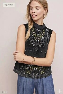 d68b41722ff8a NEW ANTHROPOLOGIE CARTHAGE Embroidered Peasant Top Vanessa Virginia ...