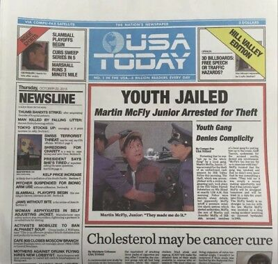 Back To The Future 2 ****USA TODAY October 22 2015 Newspaper SHIPS FLAT /UNREAD