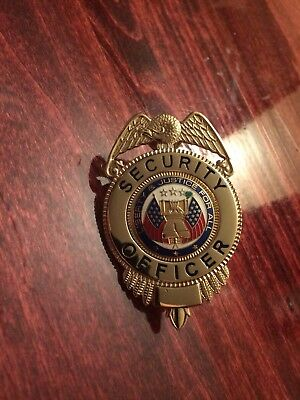 Security Officer Badge Metal Gold Plated