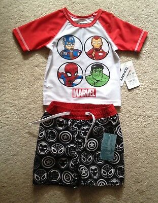 NEW - Old Navy Baby Boy Avengers Rashgard and Swim Trunks Size 12-18 Months