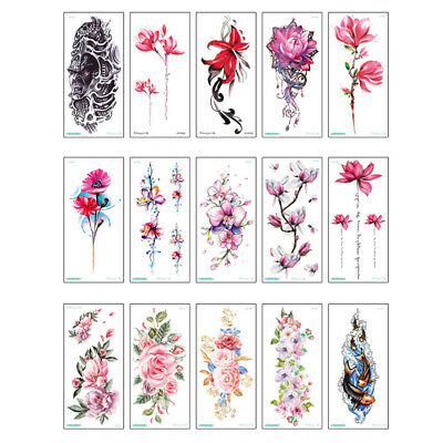 Lotus Flower Peacock Temporary Tattoos Body Art 3d Water Transfer Stickers