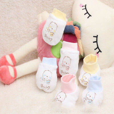1 Pair Soft Newborn Infant Anti Scratch Baby Gloves Cotton Mittens for Infant