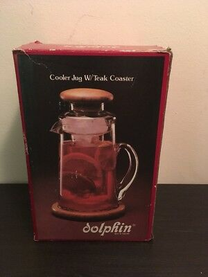 In Box Glass Dolphin Cooler Jug W Teak Coaster Vintage 268 N Made In Thailand
