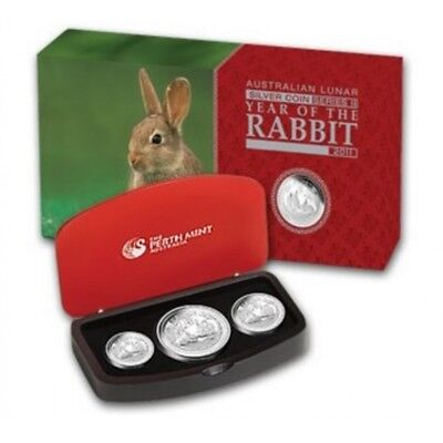 2011 Year of the Rabbit Silver Lunar Proof 3-Coin Set Extremely Rare Three Coin