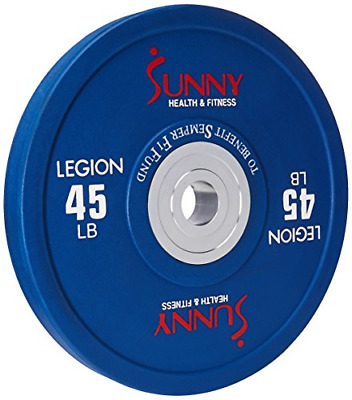 Sunny Health & Fitness OPR45 Olympic Bumper Weight Plate, Black, 45 lb