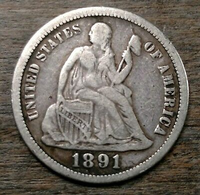 1891 Seated Liberty Dime VF Details