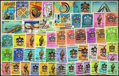 UNITED ARAB EMIRATES (U.A.E)-50 Different, Small & Large-Used Postage Stamps