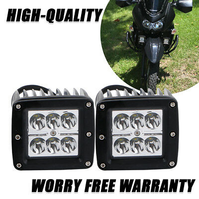 2x 3inch 18W CUBE LED LIGHT BAR WORK SPOT LAMP OFFROAD BOAT UTE GMC TRUCK SUV