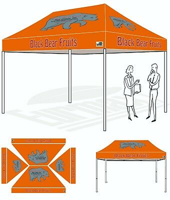 10X15 Custom Graphics LOGO Printed Top Cover For EZ Pop Up Canopy Instant Tent
