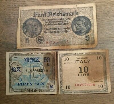Lot of (3) World War II Notes From Italy / Japan / Third Reich Germany