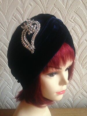 vintage inspired 1940s1950s style  midnight blue  hat turban with large  brooch