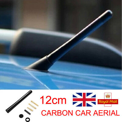 New Car Bee-Sting Stubby Black 12Cm Carbon Fibre Ariel Aerial Arial Mast Antenna