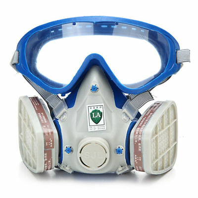 US Full Face Respirator Mask Double Filter Air Protection Breathing Chemical Gas