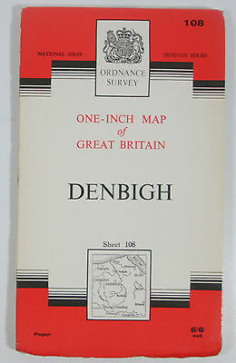 1965 old vintage OS Ordnance Survey One-inch seventh Series Map 108 Denbigh