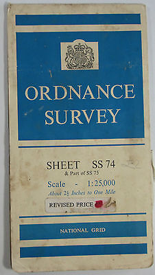 1963 old vintage OS Ordnance Survey 1:25000 First Series Map SS 74 Lynton