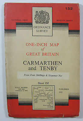 1957 old OS Ordnance Survey seventh series one-inch Map 152 Carmarthen & Tenby