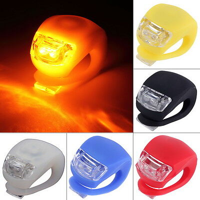LED Bicycle Bike Cycling Silicone Head Front Rear Wheel Safety Light Lamp H RRO