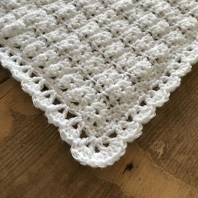 Crochet knit Handmade white baby blanket unisex gift baby shower christening