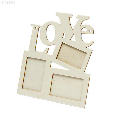4F0E New Durable Hollow Love Wooden Family Photo Picture Frame Rahmen White Base