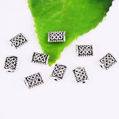 40pcs Metal Spacer Beads Carved Retro Loose Tibetan Silver Jewelry Finding 7x5mm