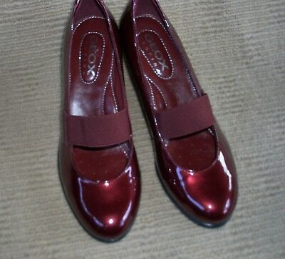 Beautiful New Geox Maroon Patent Leather Wedge Heels, Size  7.