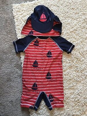 Boys Swim Suit Costume All In One Red And Navy Next With Hat 18-24 Months 1.5-2