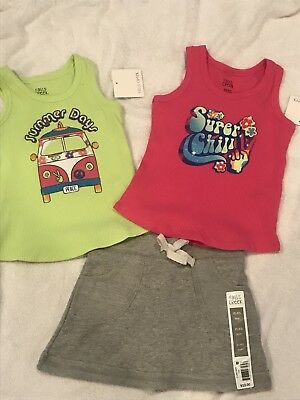 Girls Lot Of 3 Tank Tops & Grey Terry Skort Size 4/5 Nwts By Falls Creek