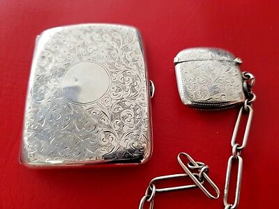 Stunning Antique Silver Set Cigarette Case And Vesta Case And Link Chain