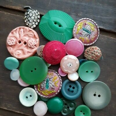 Vintage Pink and Green Button Lot / Czech Ceramic Plastic Rhinestone