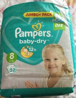 New Pampers Baby Dry Nappies Samples X 10 nappies - Size 8 17kg +