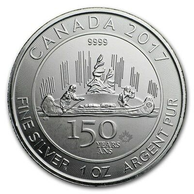 2017 Canadian $5 1oz Silver 150th Anniversary Voyageur INSIDE MINT SEAL BU