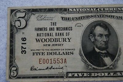 RARE 1929 $5 National CurrencyBrown Seal Woodbury, NJ, Type 1 low Serial #