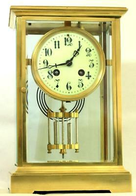 Japy Freres 8 Day Crystal Regulator Four Glass Mantle Clock Harris & Harrington