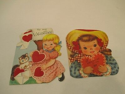 Vintage Very Old Lot (2) Valentines Day Cards With Felt Hearts VERY NICE!!