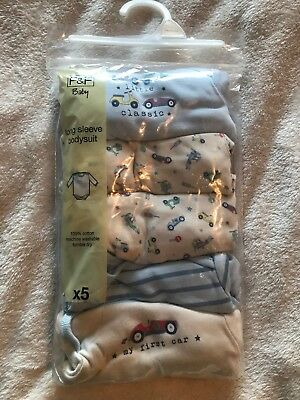 5 Pack Of NEW Long Sleeve Baby Vests. Newborn