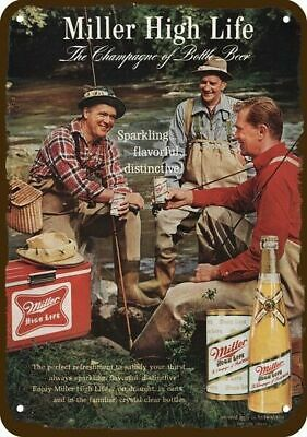 1965 MILLER BEER Vintage Look REPLICA METAL SIGN - MEN FLY FISH & DRINK BEER