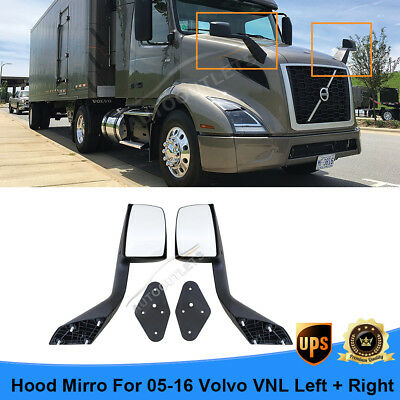 Pair of Hood Mirrors Set Fit 2005-2016 Volvo VNL With Mounting Plate LH+RH