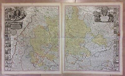 Germany Duchy Wurtemberg Jb Homann 1730 Rare & Very Large Antique Map In 2 Parts