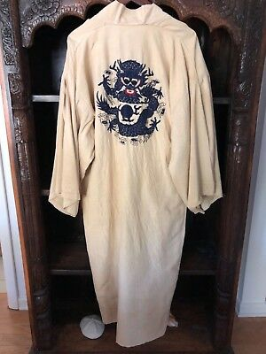 Antique 1920's Art Deco Asian Chinese Embroidered Dragon Robe Kimono
