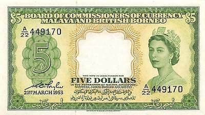 Malaya & British Borneo  $5  21.3.1953  P 2a Series A/22 Circulated Banknote E1W